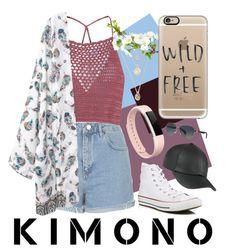 """KIMONO"" by megkna2 ❤ liked on Polyvore featuring Topshop, Glamorous, Converse, Fitbit, Casetify, Bulgari and kimonos"