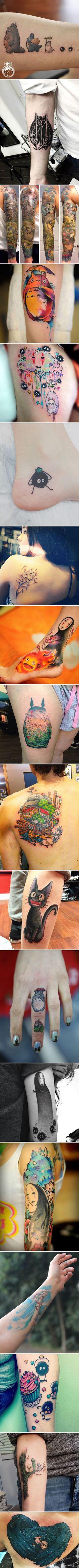 Татуировки студии Ghibli, вдохновленные анимацией Хаяо Миядзаки