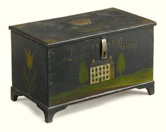 LOT SOLD. $50,000 USD  Dark green paint decorated miniature chest, Jacob Weber (1802-?), Brecknock Township, Lancaster County, Pennsylvania, dated 1849   Inscribed on front 1849 Lydia Kinzy.  6 1/8 by 10 by 5 15/16 in. Visual Grace: Important American Folk Art from the Collection of Ralph O. Esmerian