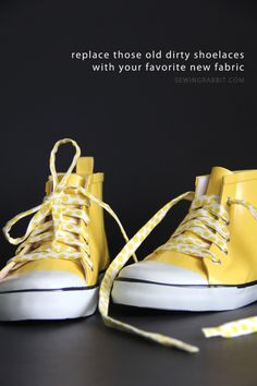 Looking for a fun way to give your shoes a POP of color? How about replacing the boring white shoelaces with your favourite fabric....great website with lots of ideas