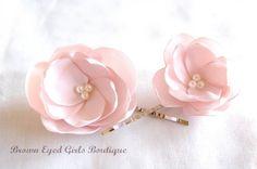 Ready to Ship Blush Bridal Flower Hair by browneyedgirlsboutiq