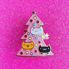 Oh Catmas Tree 2 Inch Giant Glitter Lapel Pin • Christmas 2016 Limited Edition  by theponksamurai