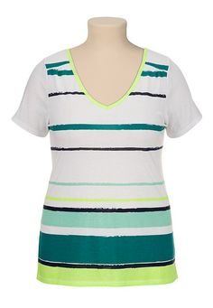 V-neck plus size Stripe Tee (original price, $18) available at #Maurices