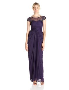 Adrianna Papell Women's Draped Tulle Gown with Beaded Illusion Yoke -- New and awesome product awaits you, Read it now  : mother of the bride dresses