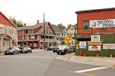 The majestic scenery of the White Mountains draws throngs of visitors to the village of North Woodstock, New Hampshire.