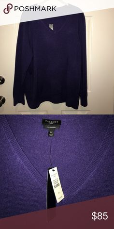 Talbots Cashmere VNeck.  Gorgeous purple Talbots Sweaters V-Necks
