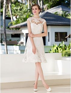 fav so far A-line Princess Jewel Knee-length Lace Wedding Dress (783944) - USD $ 129.99