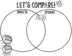 This simple venn diagram is a great way for your students to compare the similarities and differences of insects and spiders while studying invertebrates. Full color and black and white versions included. Third Grade Science, Primary Science, Kindergarten Science, Teaching Science, Teaching Ideas, Elementary Science, Preschool Math, Science Classroom, Insect Activities