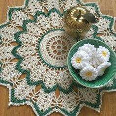 Special order from my little sister doily for her table All done ✅ getting ready for a night at work again. Two more nights to go then Happy new week Crochet Circles, Granny Square Crochet Pattern, Crochet Flower Patterns, Crochet Mandala, Crochet Round, Crochet Home, Crochet Motif, Crochet Designs, Lace Doilies