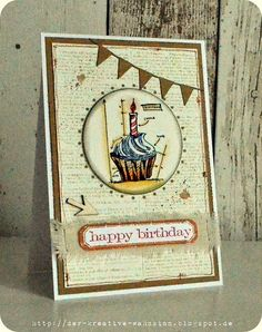 The creative madness: Happy Birthday {Tim Holtz Blueprint Cupcake Stamp}
