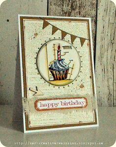The creative madness: Happy Birthday {Tim Holtz Blueprint Cupcake Stamp}