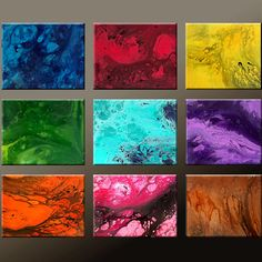 9pc Abstract original canvas painting done by dWo. She has some awesome art I would love to get my hands on!