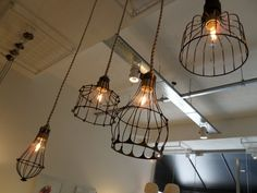 Lamparas de hierro Everything Is Illuminated, Geometric Lamp, Wrought Iron Decor, Industrial Lighting, Hanging Lights, Interior Design Living Room, Decoration, Light Fixtures, Chandelier