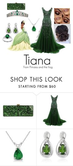 """""""Tiana from Princess and the Frog"""" by narcissa-bellatrix-andromeda on Polyvore featuring Edie Parker, Allurez, Jewelonfire and Sterling Essentials"""