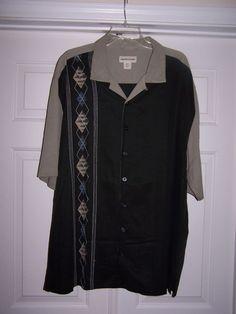 Pronto Uomo Men's 2XLT 100% Silk Dress Shirt Black Button Front Short Sleeve  #ProntoUomo