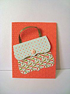Purse, coral, greeting card, handbag, shopoholic, hand made card. $3.00, via Etsy.