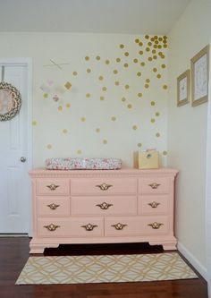 Cora's Soft, Shabby Chic Space - Love the pink and gold. This is good inspiration for what I want to do with June's space.