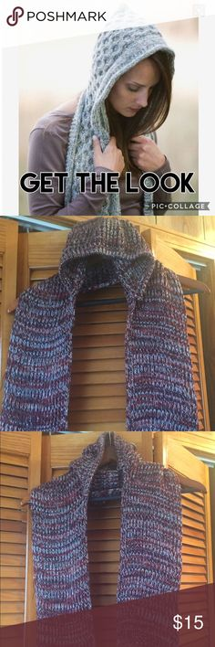 "Pretty Handmade Hooded Scarf New Handmade knit hooded scarf. Burgundy color. 57"" long. Accessories Scarves & Wraps"