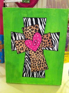 Lime Green Zebra Leopard Cross Canvas Art by WildChildDesignz. for paint party Cross Canvas Art, Cross Art, Canvas Crafts, Diy Canvas, Diy Painting, Painting On Wood, Decoupage, Green Zebra, Cross Paintings