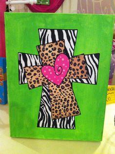 Lime Green Zebra Leopard Cross Canvas Art by WildChildDesignz,