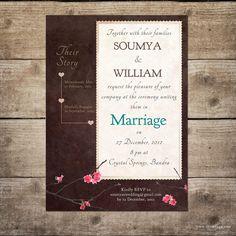 Printable Wedding Invitation  Cherry Blossom by soumyastudio