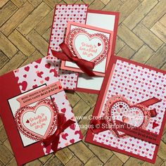 On this post you will learn how to make three easy Valentine& cards using the From my Heart suite from Stampin& Up! Valentines Day Cards Handmade, Fun Fold Cards, Heart Cards, Scrapbooking, Cards For Friends, Heartfelt Creations, Pretty Cards, Homemade Cards, Stampin Up Cards