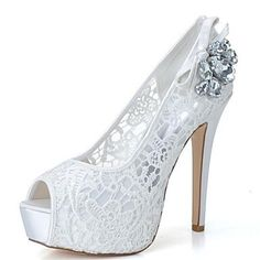 Womens White Luxury Lace Platform Heels