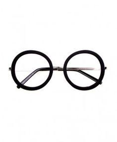 Vintage Oversized Round Glasses with Black Frame