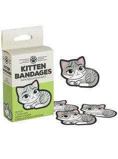Lick Your Wounds Kitten Boo-Boo Bandages by Gama-Go, Accessories, Gray, Cat, Kitty, First Aid, Bandaids, Band Aids, Bathroom, Kids, Cute, Funny, Quirky