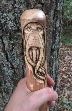 New Year Sale Walking Stick Davy Jones Wood Carving Wood Carving Designs, Wood Carving Patterns, Wood Carving Art, Walking Sticks And Canes, Walking Canes, Chip Carving, Got Wood, Davy Jones, Wood Gifts