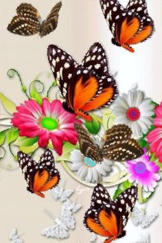 flores #mariposa #gif