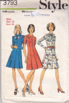 70s Pleated Princess Dress Pattern Style by allthepreciousthings