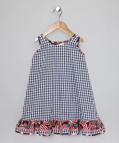 Take a look at this Navy Checkerboard Ruffle Dress - Infant, Toddler & Girls by De n' L on #zulily today!