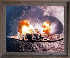 Give a new dimension to your home decor by simply adding this USS Missouri battleship firing guns military navy print framed art poster. Its wonderful barnwood  frame accentuates the poster mild tone. The frame is made from solid wood measuring 19x23 inches with a smooth gesso finish. This framed poster includes a wire hanger on the back for easy display. Impact posters gallery also offers high quality framed posters which are perfect for decorators on a budget. Hurry up! Make your order…