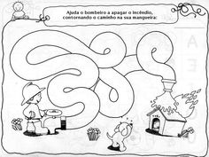 Ajuda o bombeiro Community Workers, Community Helpers, Fireman Crafts, Coloring Books, Coloring Pages, Mazes For Kids, Maze Puzzles, Alphabet Games, Fire Safety