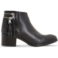 DUNE Pipinn snake-embossed leather ankle boots ($105) ❤ liked on Polyvore featuring shoes, boots and ankle booties