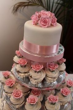 Girl Baby shower cake & cupcakes...without roses