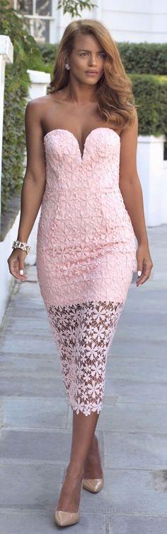 Pink Lace Strapless Midi Dress by Nada Adellè
