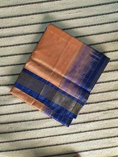 Beige rose korvai kanchi Silk Cotton Saree with Blue Pallu & Korvai Zari Border Silk Cotton Sarees, Blouse Designs, Hand Weaving, Beige, Collections, Traditional, Rose, Dresses, Vestidos