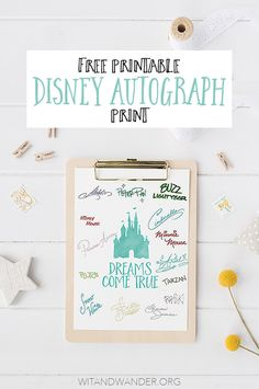 Free Printable Walt Disney World Autograph Print - If your children (or anyone in your family) loves collecting autographs from Disney World Characters at the Theme Parks, download this freebie to use at Magic Kingdom, Epcot, Animal Kingdom, Hollywood Studios, and Disneyland and California Adventure. It's the perfect alternative to an autograph book. It's also great if you're taking a Disney Cruise! Print the Dreams Come True printable with Cinderella Castle or the Disney Princess printable!