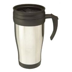Promotional Metal Insulated Travel Mug, with a stainless steel exterior and a plastic inner which insulates this mug. Strong robust design that keeps drinks hot or cold with a safe splash proof drink-through lid. Suitable for travel, office or home. This product is not dishwasher safe.
