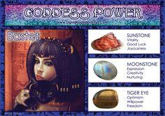 Goddess Power: Bastet - Stones: Sunstone, Moonstone and Tiger Eye Bastet Goddess, Isis Goddess, Egyptian Goddess, Wicca Witchcraft, Magick, Crystals And Gemstones, Stones And Crystals, Wiccan Magic, Angel Guidance
