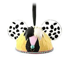 Here's a combo that could only happen in the Disney universe: a Christmas ornament of Cruella de Vil in the shape of the Mickey Mouse Club ears! CRUELLA DE VIL MICKEY MOUSE EARS HAT DISNEY ORNAMENT