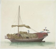 Boats of the Pearl River (1800-1820) A large trawler, equipped with bamboo fishing baskets and nets.