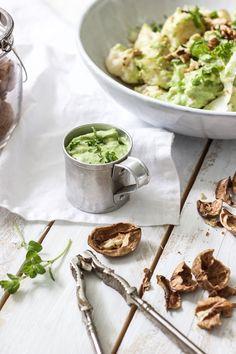 cauliflower with parsley avocado dressing
