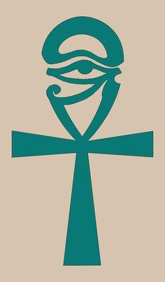 Egyptian Symbol of Wisdom ~ Eye of Horus combined with the Ankh (Male/Female symbol) Egyptian Mythology, Egyptian Symbols, Ancient Symbols, Ancient Egypt, Mayan Symbols, Viking Symbols, Viking Runes, Ankh Tattoo, Egypt Tattoo