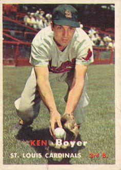 122 - Ken Boyer - St. Louis Cardinals St Louis Baseball, Baseball Star, Football And Basketball, Baseball Jerseys, Baseball Field, Cardinals Players, Cardinals Baseball, St Louis Cardinals, Baseball Card Values