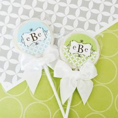 Mod Monogram Lollipop Favors (Event Blossom EB2131M) | Buy at Wedding Favors Unlimited (http://www.weddingfavorsunlimited.com/Mod_Monogram_Lollipop_Favors.html).