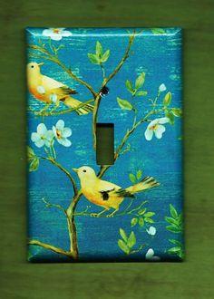 Oversized 35 x 525 Yellow Birds Switchplate cover by TurnMeOnArt, $11.00
