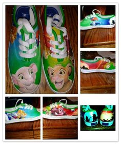 "Items similar to Custom Hand Painted ""Lion King"" Shoes on Etsy"